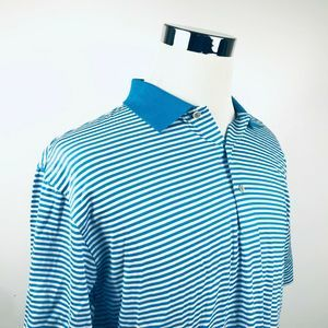 Peter Millar Large Golf Polo Shirt Blue Striped